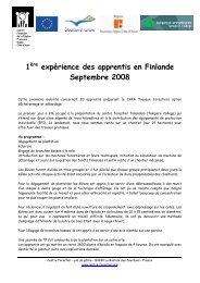 1ère expérience des apprentis en Finlande Septembre 2008