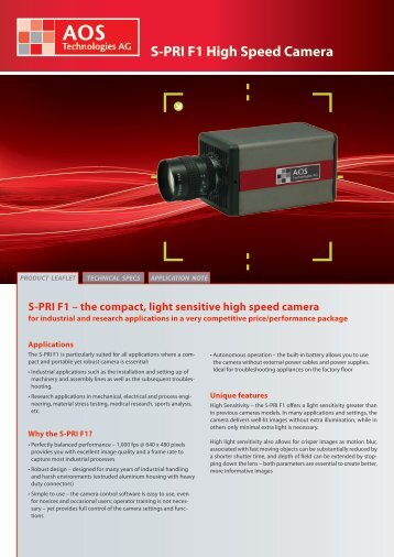 S-PRI F1 High Speed Camera