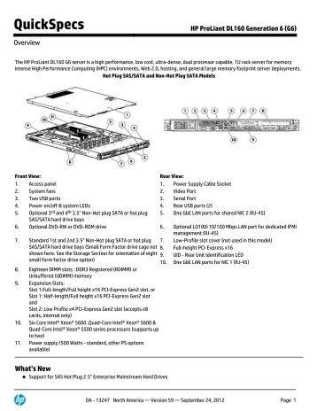 HP ProLiant DL160 Generation 6 (G6) - Hewlett Packard