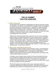 THE UC SUMMIT FAQ FOR VENDORS - UCStrategies.com