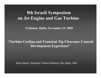 )8th Israeli Symposium on Jet Engine and Gas Turbine