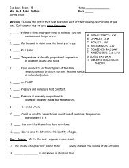 Gas Laws Exam – A