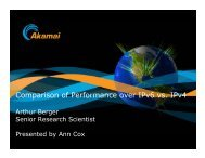 Comparison of Performance over IPv6 vs. IPv4 - Caida