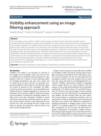 Visibility enhancement using an image filtering approach