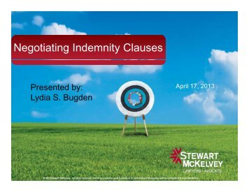 Negotiating Indemnity Clauses - Stewart McKelvey