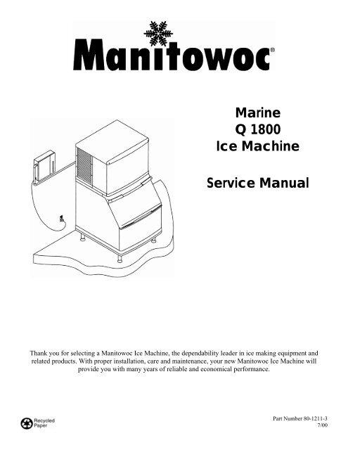 Marine Q 1800 Ice Machine Service Manual - Manitowoc Ice Inc on