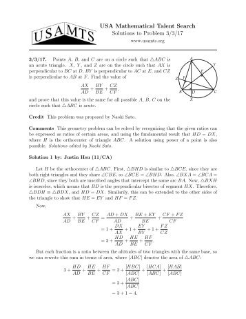 USA Mathematical Talent Search Solutions To Problem 3 17