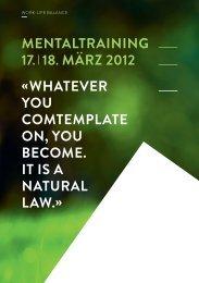 mentaltraining 17. I 18. märz 2012 « Whatever you ... - Safranblau