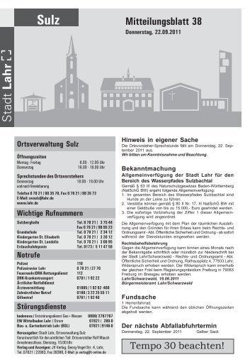 mitteilungsblatt 25 2011 sulz stadt lahr. Black Bedroom Furniture Sets. Home Design Ideas