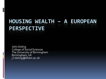 HOUSING WEALTH – A EUROPEAN PERSPECTIVE - National ...