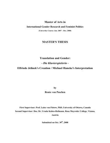 Master thesis on translation