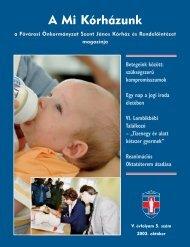 A Mi Kórházunk: 2003. október (V/5) - Szent János Kórház