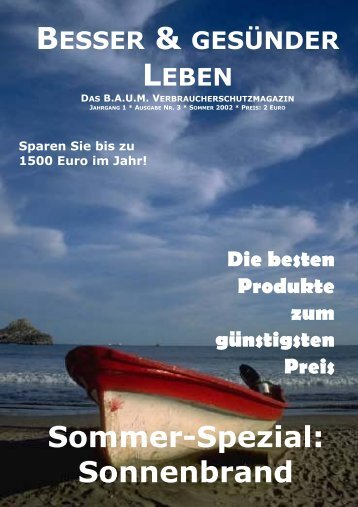 Sommer-Spezial: Sonnenbrand - Sun 21 - Schutz von Umwelt und ...