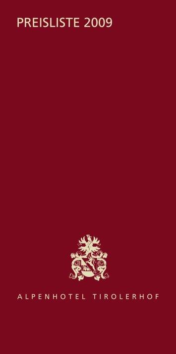 Preisliste 2009 - Alpenhotel Tirolerhof in Fulpmes
