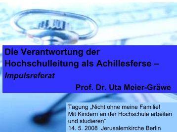 Prof. Dr. Uta Meier-Gräwe Lehrstuhl für Wirtschaftslehre des ...