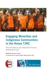 Engaging Minorities and Indigenous Communities in the Kenya TJRC
