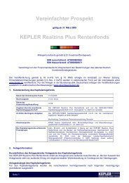 KEPLER Realzins Plus Rentenfonds VVKP 31.03.09 - boerse-live.at