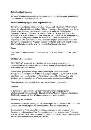 Teilnahmebedingungen - Lifestyle by V-ZUG AG