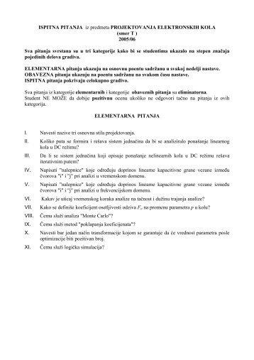 Elementarna, obavezna i sva ispitna pitanja PEK 2005/2006 - LEDA