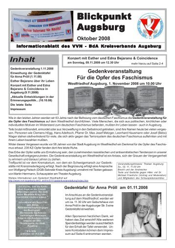 Blickpunkt Augsburg Oktober 2008 - VVN-BdA Augsburg