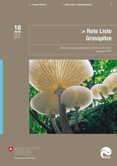 Rote Liste der gefährdeten Arten der Schweiz: Grosspilze - Bafu - CH