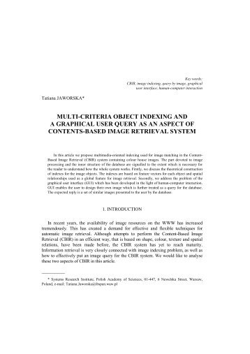 multi-criteria object indexing and a graphical user query as an ...