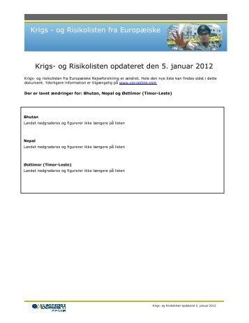 og Risikolisten opdateret den 5. januar 2012 - Top Rejser