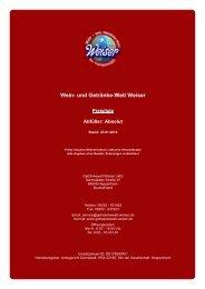 Preisliste für Abfüller: Absolut - und Getränke-Welt Weiser
