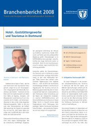 Hotel-, Gaststättengewerbe und Tourismus in Dortmund