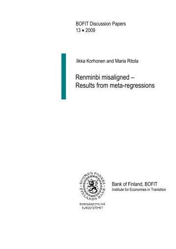 Renminbi misaligned - Results from meta ... - Suomen Pankki