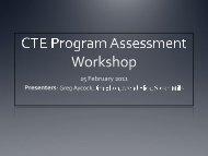 CTE Program Assessment Workshop Indirect v. Direct Assessment