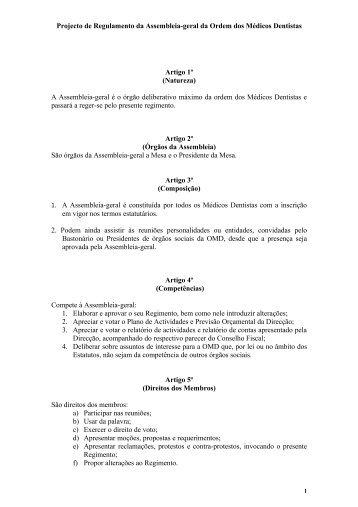 Regulamento da Assembleia-Geral - Ordem dos Médicos Dentistas