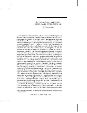 la filosofía de la biología como campo interdisciplinar - Ludus Vitalis