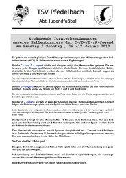 Turnierbestimmungen - TSV Pfedelbach