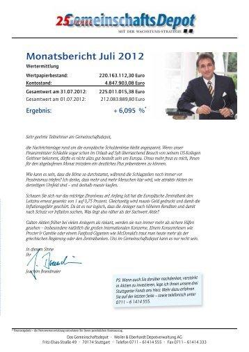 Monatsbericht Juli 2012 - Weiler Eberhardt Depotverwaltung AG