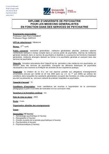 universite de limoges – faculte de medecine - Faculté de Médecine ...