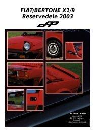 FIAT/BERTONE X1/9 Reservedele 2003 - Laursen-Online