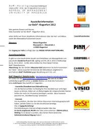 Ausstellerinformation zur BeSt³- Klagenfurt 2012 - BeSt Klagenfurt