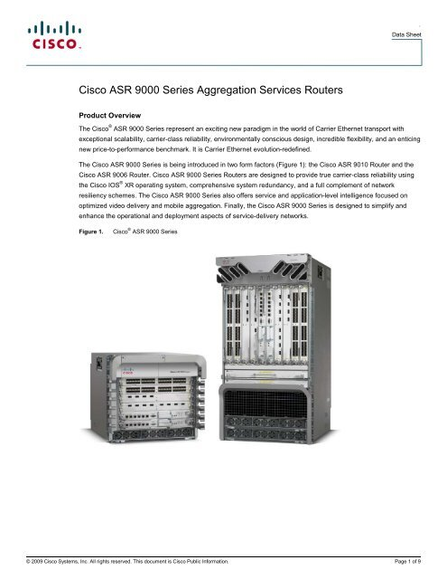 Cisco ASR 9000 Series Aggregation Services Routers - Spectra