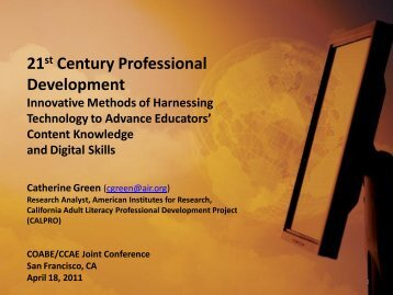 21st Century Professional Development Harnessing ... - COABE