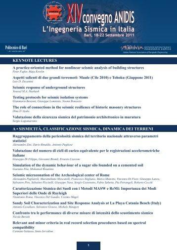 keynote lectures a • sismicità, classificazione sismica ... - Anidis