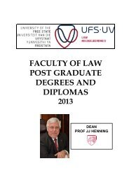 Post Graduate Degrees and Diplomas - University of the Free State