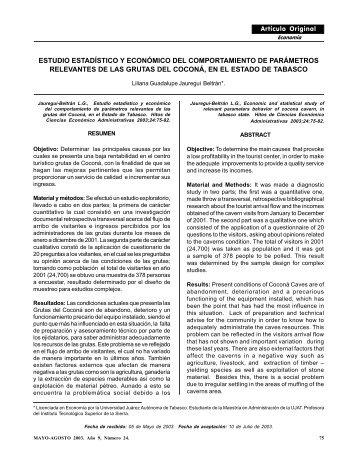 Estudio estadístico y económico del comportamiento de parámetros ...