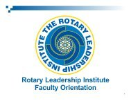 Faculty Slides - Rotary Leadership Institute