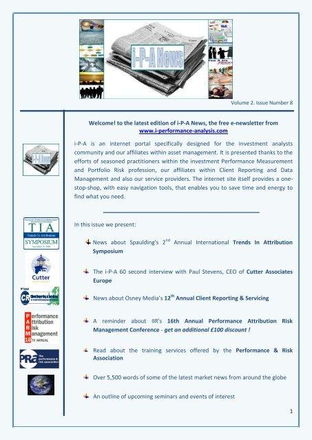 to the latest edition of iPA News - I-performance-analysis.com