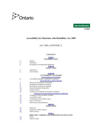 Accessibility for Ontarians with Disabilities Act, 2005 S.O. 2005 ...