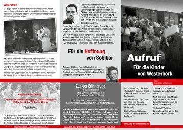 Flyer Sobibor Braunschweig - Zug der Erinnerung