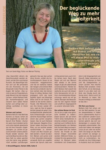 Der beglückende Weg zu mehr Heiterkeit - Birseck Magazin
