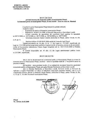130 - privind trecerea din domeniul public al municipiului Piteşti în ...