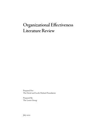 Organizational Effectiveness Literature Review